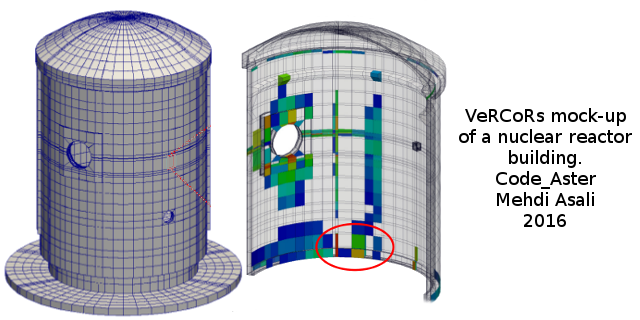 Simulation of the VeRCoRs mock-up of a nuclear building